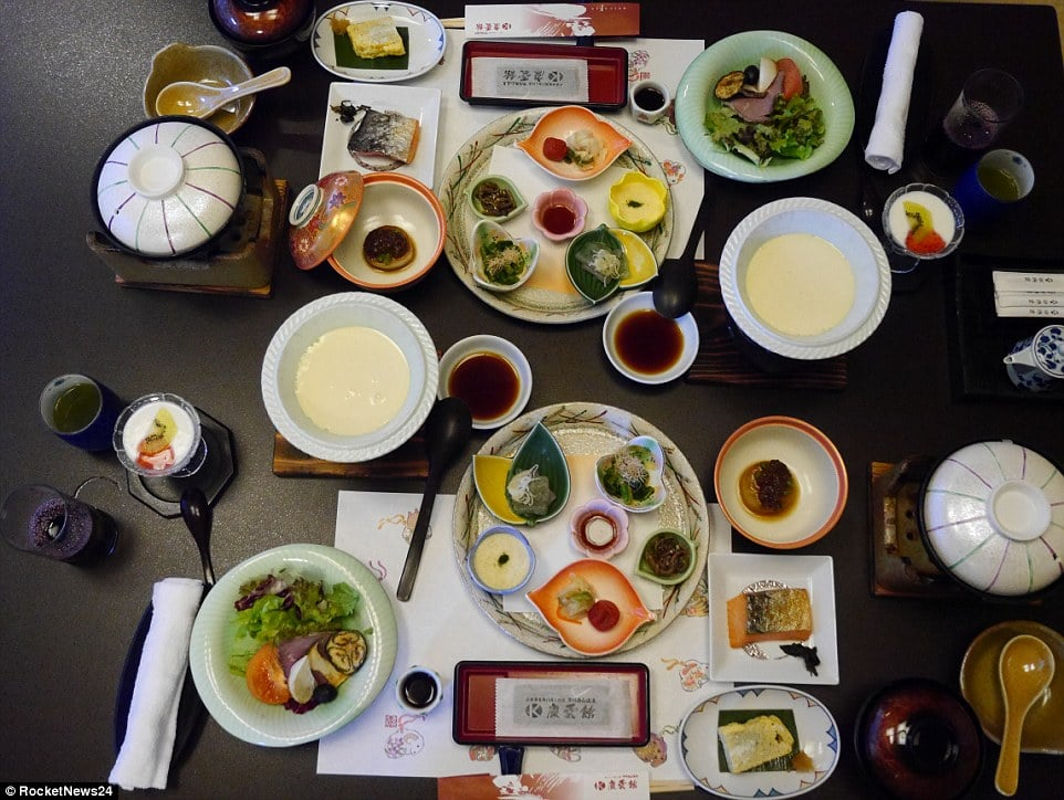 A night at the hotel starts from 34,720 Yen, or about £216.90. It includes a kaiseki (multi-course) dinner and an elaborate breakfast (above)